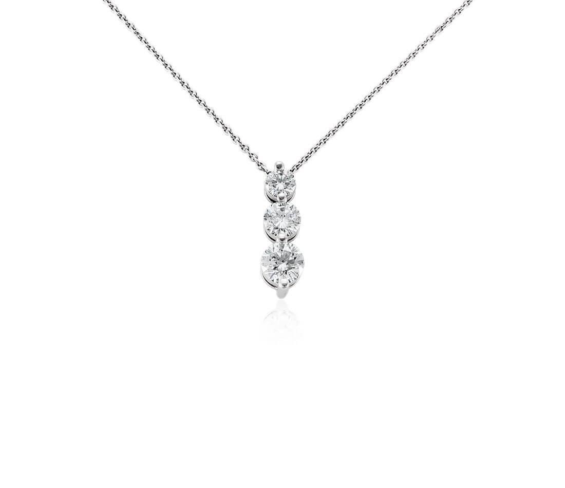 Three stone drop diamond pendant