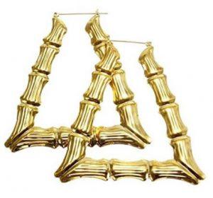 Triangle bamboo hoop earrings