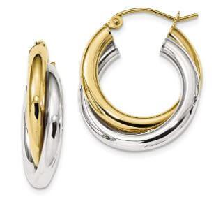 Two tone hoop earrings