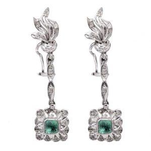 Vintage emerald diamond palladium earrings