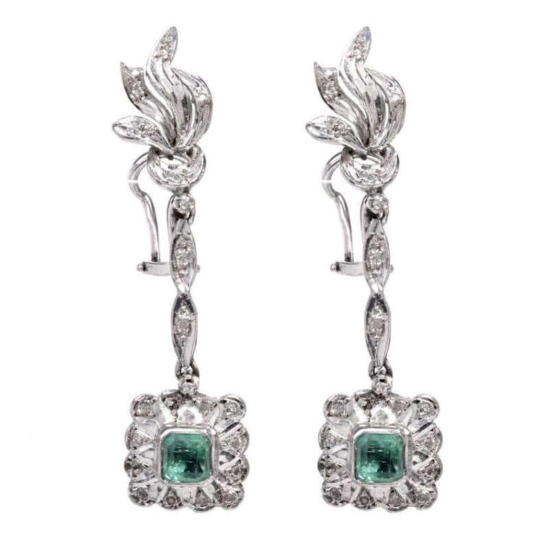 vintage-emerald-diamond-palladium-earrings-etsy