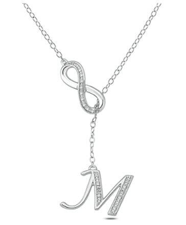 White diamond letter a initial necklace