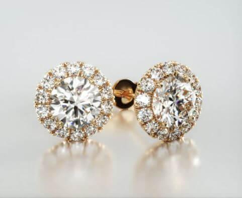 Yellow gold halo earrings