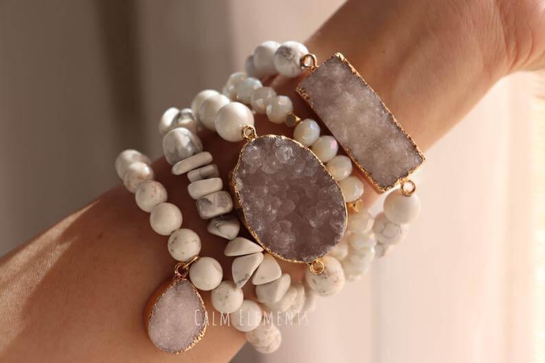 Druzy quartz stack bracelet