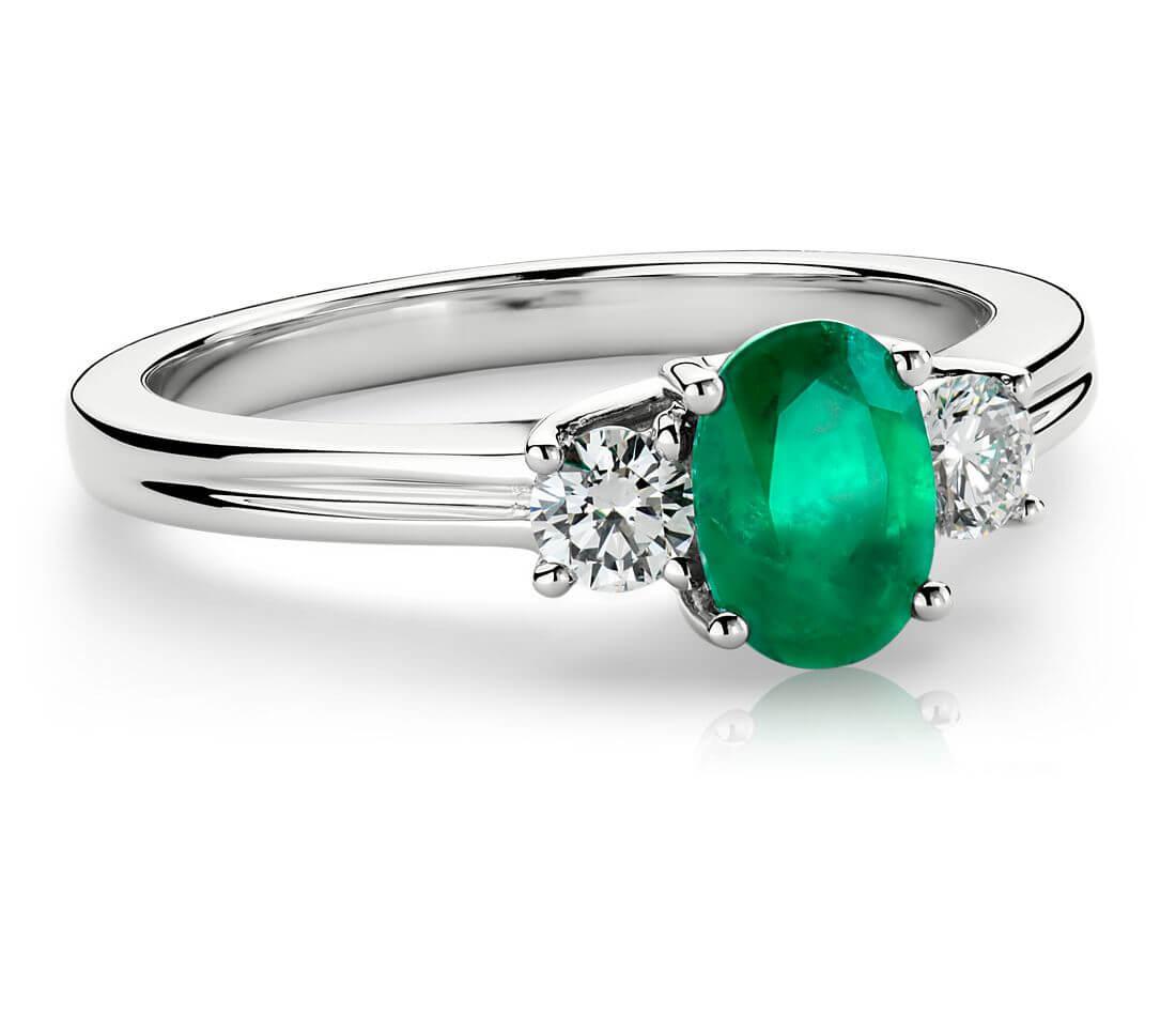 Emerald and diamond birthstone ring