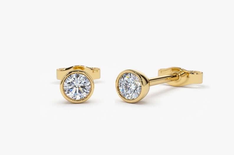 Gold diamond stud earrings