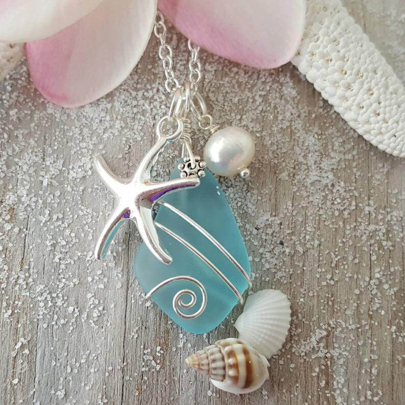 Hand made sea glass necklace