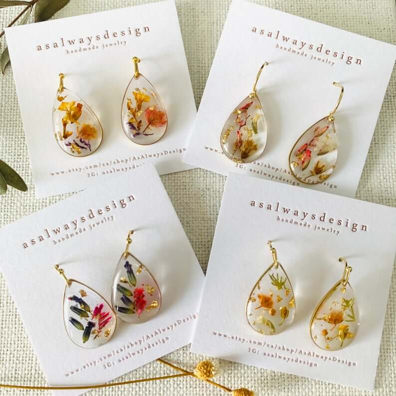 Handmade resin flower earrings