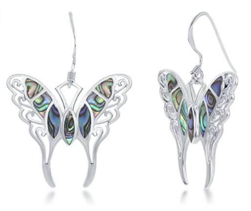 Italian abalone butterfly earrings