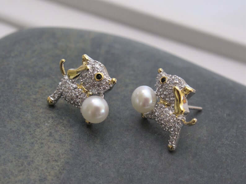Puppy earrings with freshwater pearls