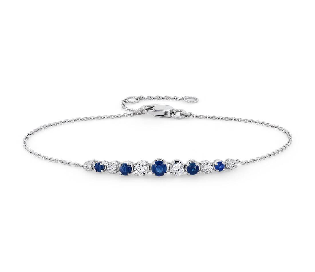 Sapphire and diamond curve bracelet