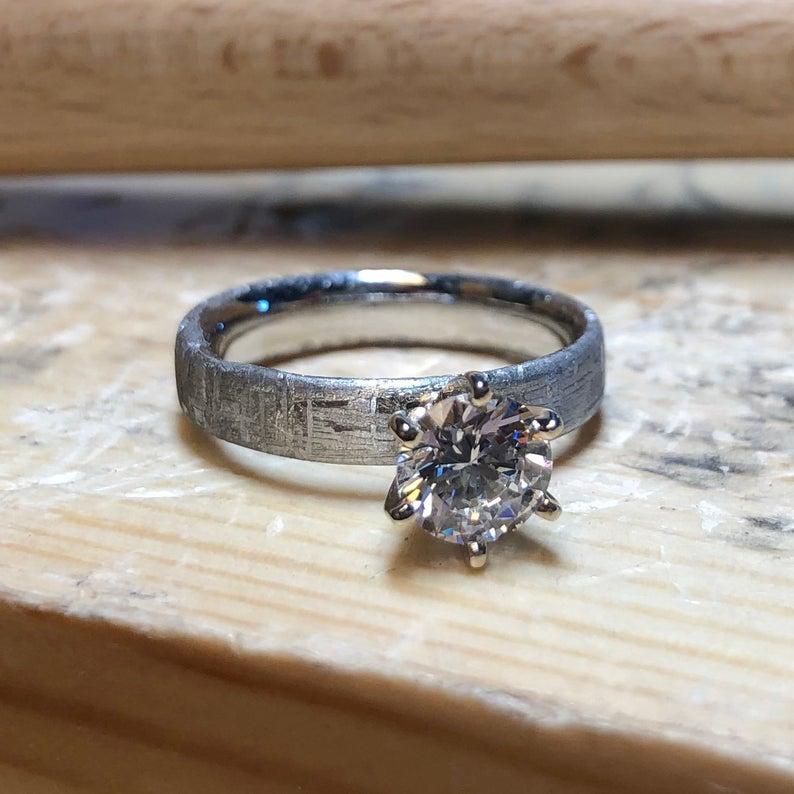 Moissanite meteorite ring